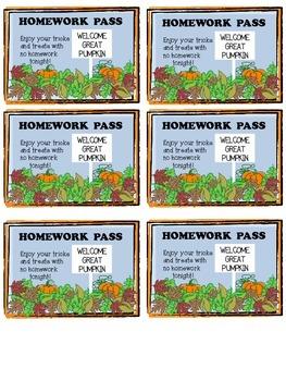 Peanuts Themed Halloween Homework Pass