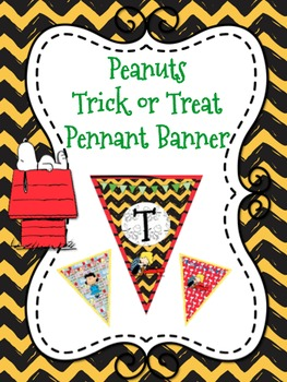 """Peanuts Themed """"Trick or Treat"""" Pennant Banner"""