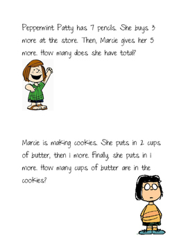 Peanuts Word Problems- 3 addends within 20