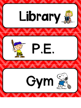 Peanuts or Charlie Brown Themed Classroom Schedule Cards