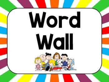 Peanuts or Charlie Brown Themed Word Wall Headers