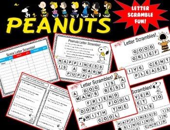 Peanuts themed Letter Scramble Activity