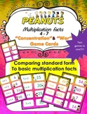 Peanuts themed Multiplication facts (4 - 7)  Concentration & War Card Games