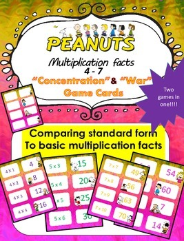 Peanuts themed Multiplication facts (4 - 7)  Concentration