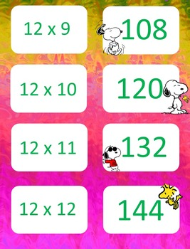 Peanuts themed  Multiplication facts (8-12)  Concentration & War Card Games