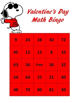 Peanuts themed Valentine's Day Math BINGO