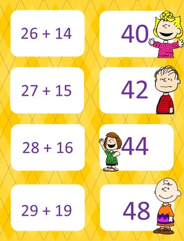 Peanuts themed double digit addition with regrouping game of concentration/war