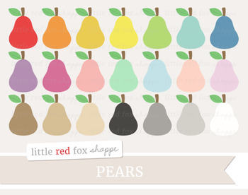 Pear Clipart; Fruit, Produce, Grocery