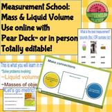 Pear Deck Measurement School:  Mass and Liquid Volume