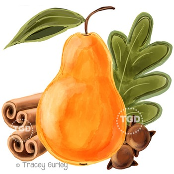 Pear and Spices - pear clip art, spice clip art Printable Tracey Gurley Designs