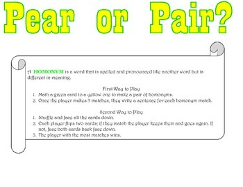Pear or Pair- Homonym Memory Game