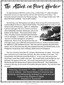 Pearl Harbor Attack Close Reading Activity: Google Classroom