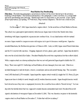 Pearl harbor day informational essay proofreading and key tpt
