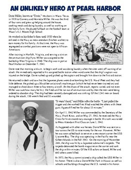 Pearl Harbor Dorie Miller Reading And Worksheet By Students Of History