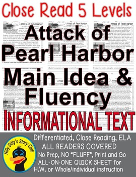 Pearl Harbor FACTS Close Read 5 levels ALL READERS COVERED Informational Text