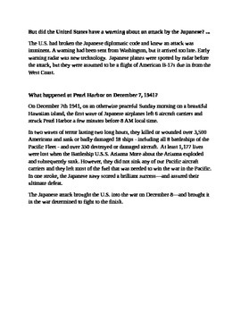 Pearl Harbor Information Sheet