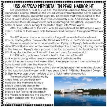 Pearl Harbor Memorial Close Read
