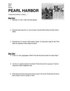 Pearl Harbor Worksheets Teaching Resources Teachers Pay Teachers