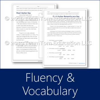 Pearl Harbor Reading Passage (Comprehension, Fluency, Vocabulary)