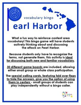 Pearl Harbor Vocabulary Bingo
