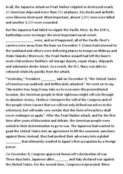 Pearl Harbor Cloze Activity