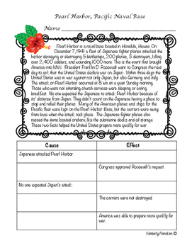 Pearl Harbor nonfiction passage and task cards