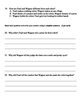 Pearl and Wagner Two Good Friends Vocabulary and Selection Test