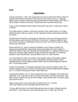 Pearl harbor Article and Writing Assignment Worksheet