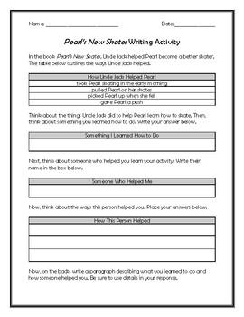 Pearl's New Skates Writing Activity