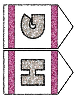 Pearls & Swirls Theme Banner Chevron Set - Any Message - All numbers & letters