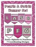 Pearls & Swirls Theme Banner Chevron Set - Any Message - A
