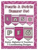 Pearls & Swirls Theme Banner Chevron Set - Any Message - A