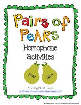 Homophone Activities: Pairs of Pears