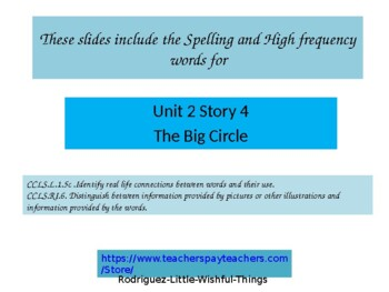 "1st grade Unit  2 story 4 ""The Big Circle"""