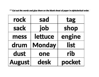 Pearson 2nd Grade Unit 1 ABC Order Sheets