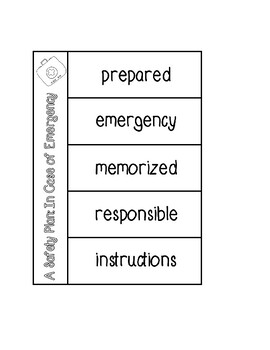 Pearson A Safety Plan: In Case of Emergency Vocabulary Graphic Organizer