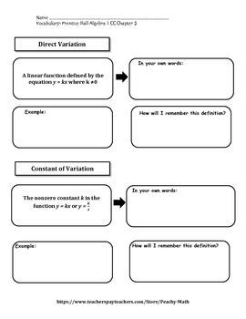 Pearson Algebra 1 Vocabulary Chapter 5