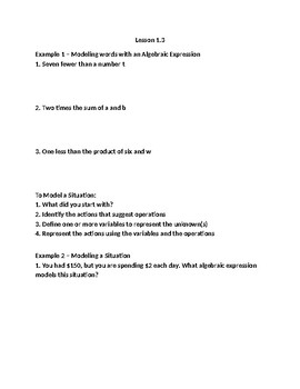 Pearson Algebra 2 Common Core Lesson 1.3 Guided Notes packet
