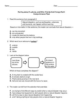 Pearson Earthquakes, Eruptions, and Other Events  Comprehension Test