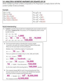 Pearson EnVision - 5th Grade - Topic 3 Multiply Whole Numbers - Cheat Sheet