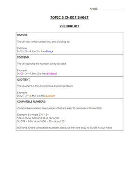 Pearson EnVision - 5th Grade - Topic 5: Divide Whole Numbers - Cheat Sheet