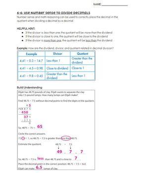 Pearson EnVision - 5th Grade - Topic 6 Divide Decimals - Cheat Sheet