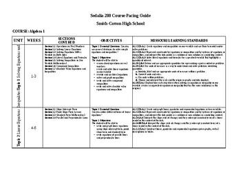 Pearson EnVision Teacher Created Pacing Guide Algebra I