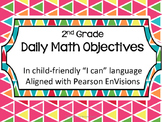 Pearson EnVisions Daily Objectives Second Grade Topics 1-16