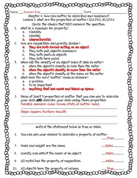 Pearson Interactive Science 2012 4th Grade Lesson Quizzes Chapter 4