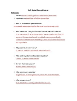 Pearson Interactive Science Chapter 1 Study Guides