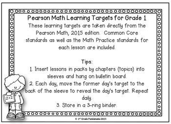 Pearson Math Learning Targets 1st Grade