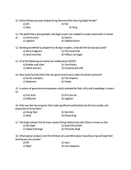 Pearson My World Interactive World History Topic 5 Test on Ancient China