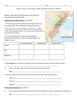 Pearson My World Social Studies - Life in the Colonies Unit