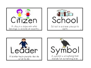 Pearson My World Social Studies Vocabulary Cards with Pictures and Def. Kdg